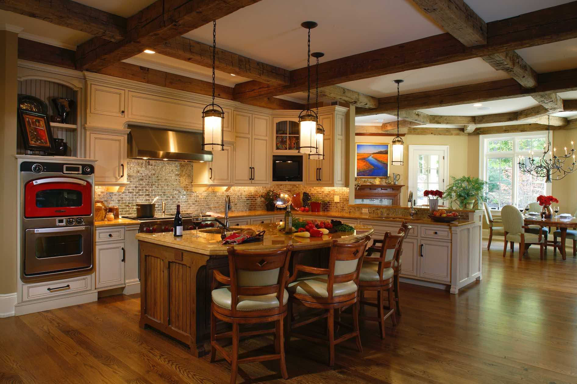 European farmhouse the great room design for Kitchen great room